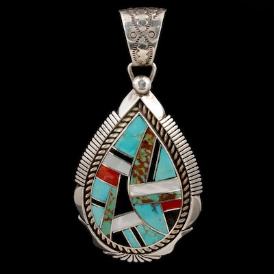 Southwestern Sterling Turquoise, Coral, Mother of Pearl and Black Onyx Pendant