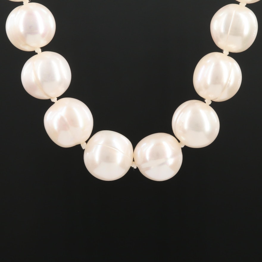 14K Yellow Gold Cultured Pearl Knotted Necklace