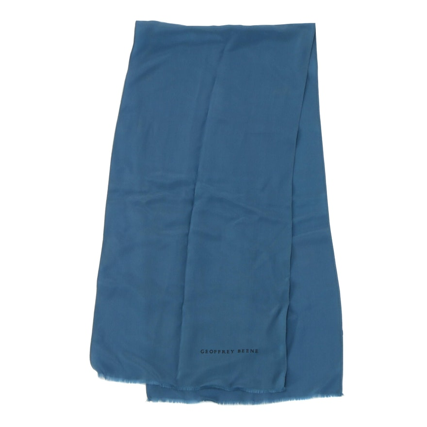 Geoffrey Beene Raw Edge Blue Silk Scarf, Vintage