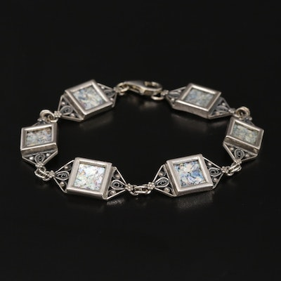 Sterling Silver Roman Glass Bracelet with Filigree Detail