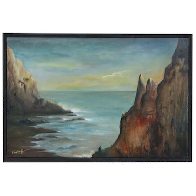 Farshad Lanjani Oil Painting of Coastal Landscape