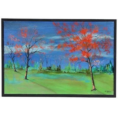 Farshad Lanjani Landscape Oil Painting of Field, 2008