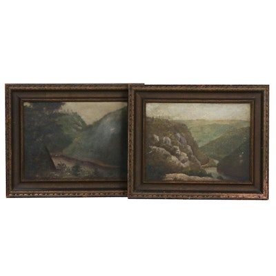 Landscape Oil Paintings of River Valleys,  Early 20th Century