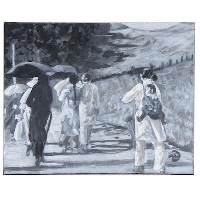 """Zofia Wilamowska Acrylic Painting """"Walking Toward a New Life"""""""