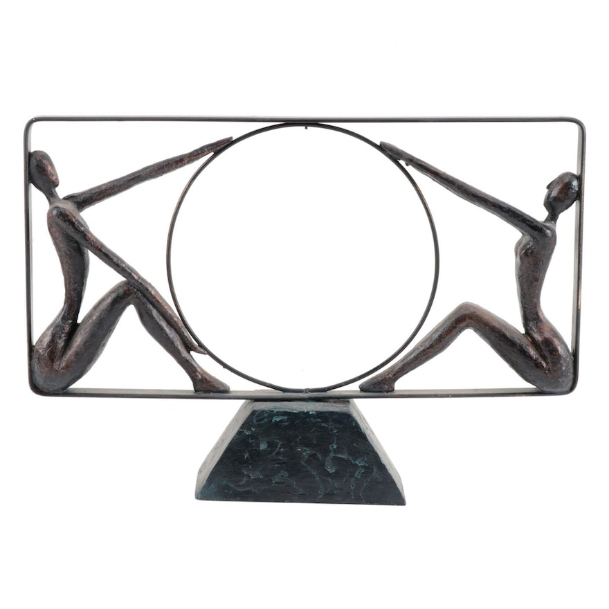 Modernist Style Bronze Patinated Metal Statuette