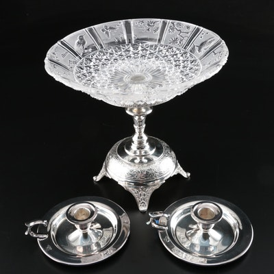 Reed & Barton Silver Plate and Cut Glass Compote with Oneida Candle Holders