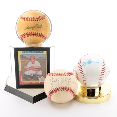 Bench, Billingham and Norman Signed Baseballs with Bench '75 Card  COA