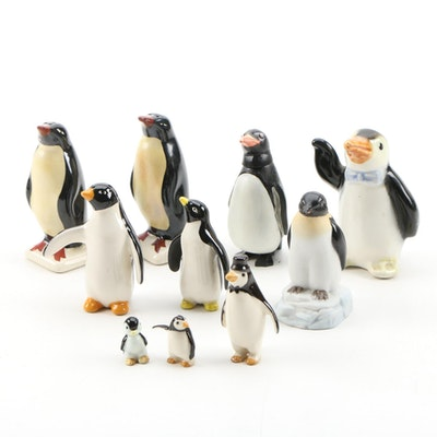 Plastic Bobble Head Penguin and Other Ceramic Penguin Figurines