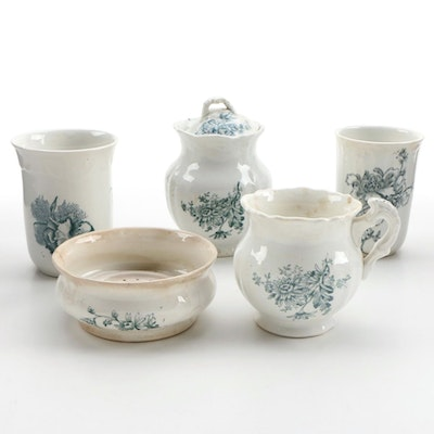 Floral Accented Porcelain Creamer, Sugar, Butter and Two Cups, Antique