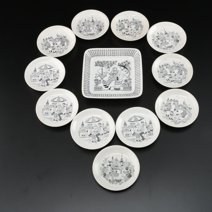 "Arabia of Finland ""Emilia"" Bon Bon Plate and Coaster Set, Mid-20th Century"