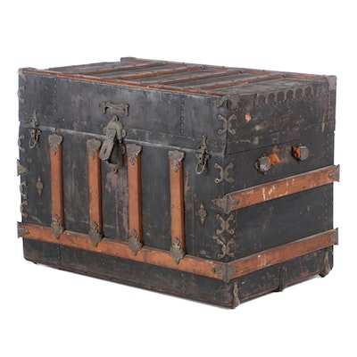 Victorian Metal-Wrapped and Mounted Wooden Steamer Trunk, Late 19th Century
