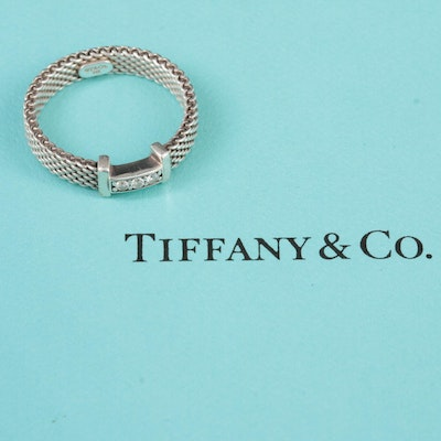 """Tiffany & Co """"Sommerset"""" Sterling Silver Diamond Ring"""