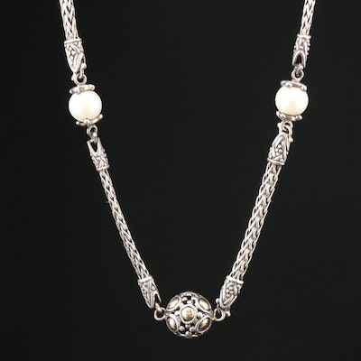 "John Hardy ""Jaisalmer Dot"" Sterling Pearl Station Necklace with 18K Gold Accents"