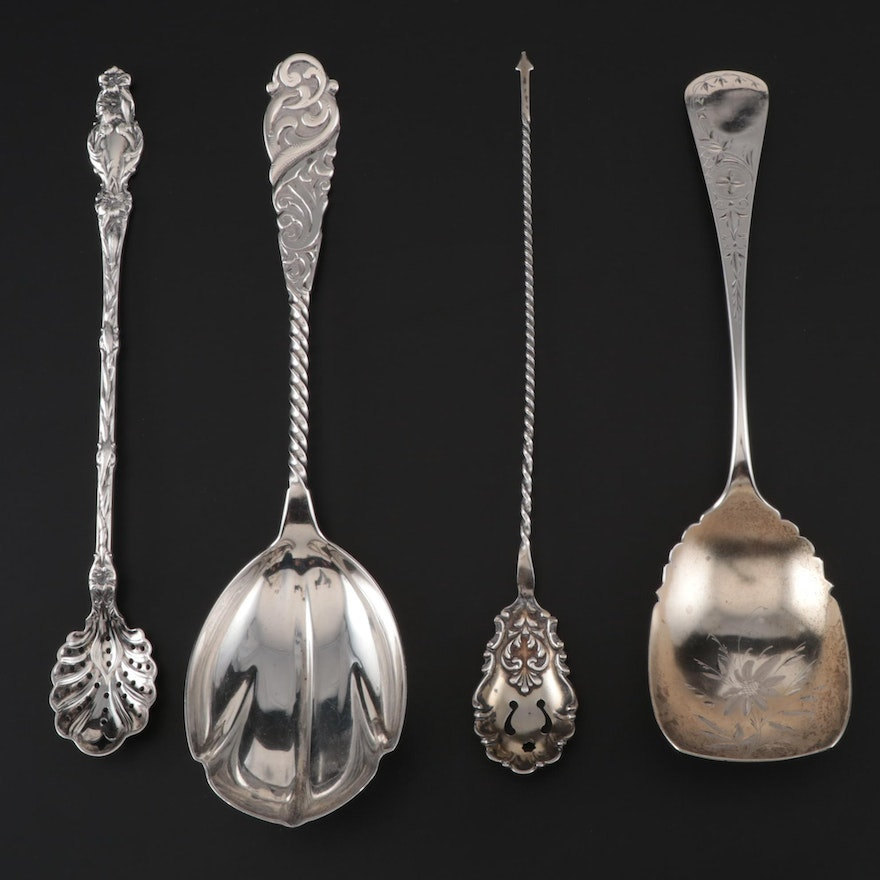 """Whiting Mfg. Co. """"Lily"""" Sterling Long Handle Olive Spoon with Other Sterling"""