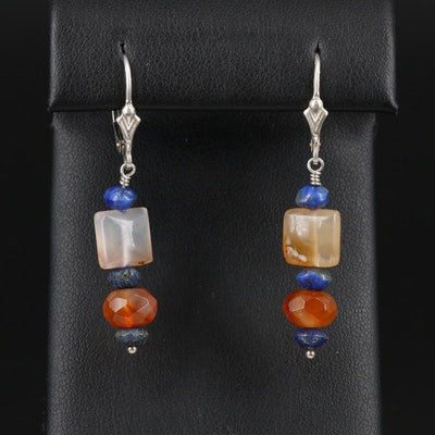 Sterling Dangle Earrings with Lapis, Carnelian and Agate
