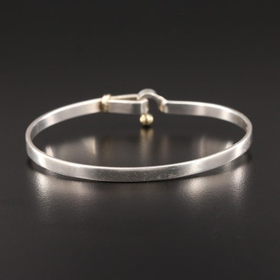 Tiffany & Co. Sterling Silver Hook and Eye Bangle with 18K Yellow Gold Accents