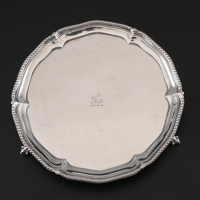 John Carter II of London Georgian Sterling Salver with Heraldic Engraving, 1776