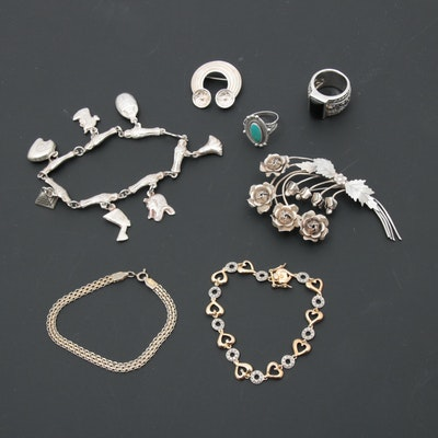 Sterling Silver Jewelry Including Egyptian 800 Silver and Silpada