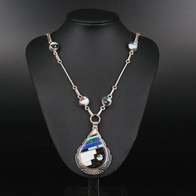 Harold Smith Navajo Diné Sterling Mother of Pearl, Malachite Pendant Necklace