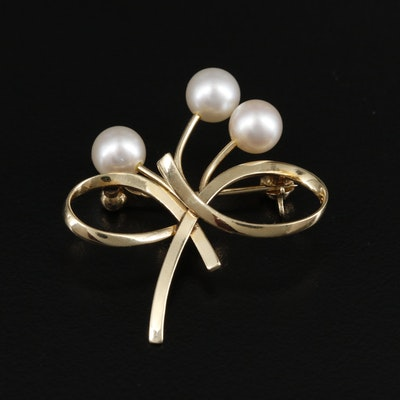 Mikimoto 14K Yellow Gold Cultured Pearl Bow Brooch
