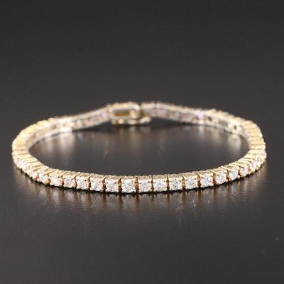 Sterling Faceted Glass Line Bracelet