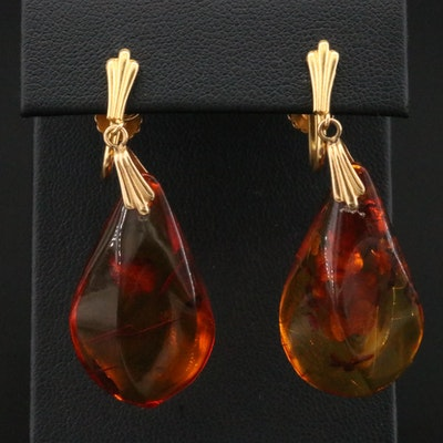 14K Yellow Gold Amber Screw Back Earrings