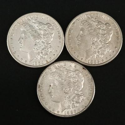 1884, 1885 and 1886 Morgan Silver Dollars