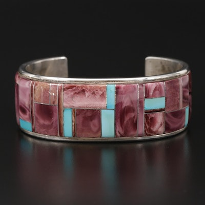 Scott Skeets Navajo Diné Sterling, Turquoise and Spiny Oyster Cuff Bracelet