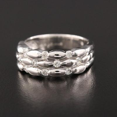 14K White Gold Triple Row Diamond Ring