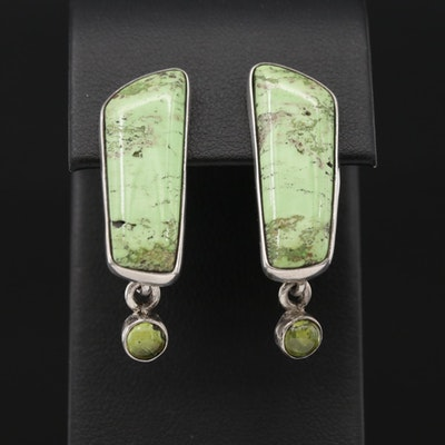 Signed Sterling Silver Gaspeite and Peridot Drop Earrings