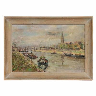 European River Scene Oil Painting, 1949