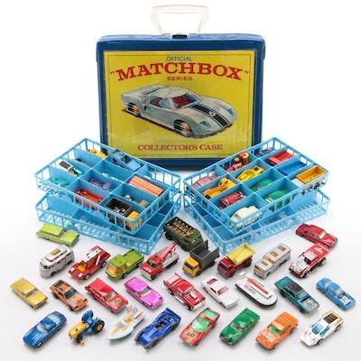"Lesney ""Matchbox"" Die-Cast Model Toy Car Collection in Vinyl Case, Vintage"
