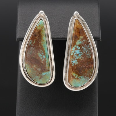 Ernest McCrea Navajo Diné, Sterling Silver and Turquoise Drop Earrings