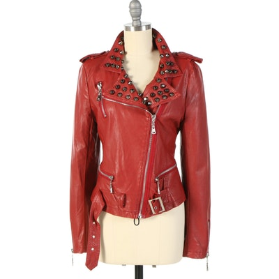 Believe-E Studded Red Synthetic Leather Motorcycle Jacket