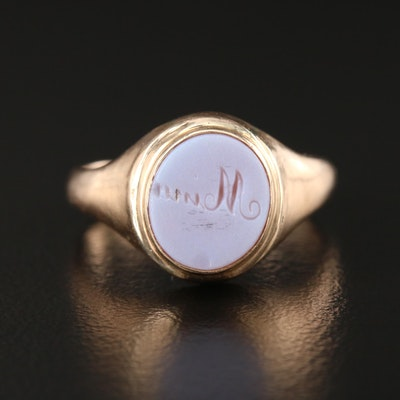 Vintage 10K Yellow Gold Agate Signet Ring