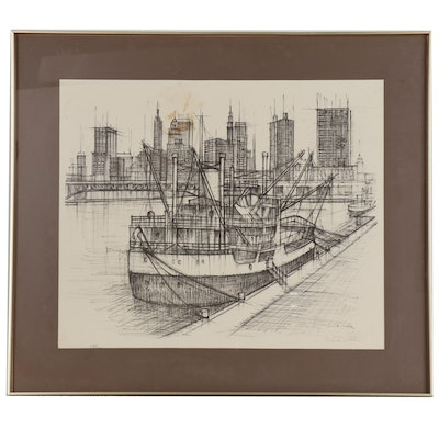Eric Nivelle Lithograph of Cityscape with Harbor, Mid 20th Century