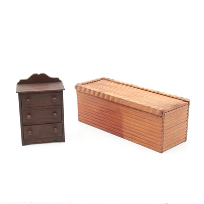 Salesman's Miniature Wooden Chest of Drawers and Decorative Wooden Box