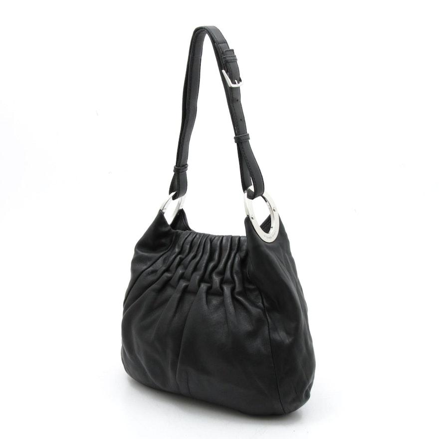 MICHAEL Michael Kors Pleated Black Leather Shoulder Bag