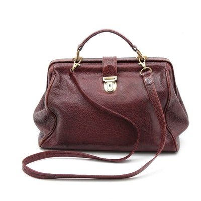 DKNY Grained Leather Doctor's Bag in Burgundy with Detachable Shoulder Strap