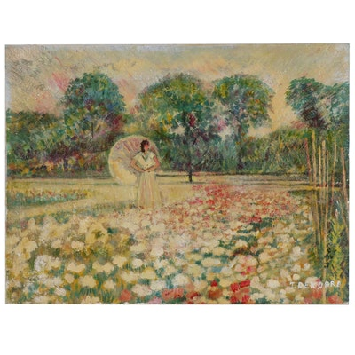 Figural Landscape Oil Painting, Late 20th Century