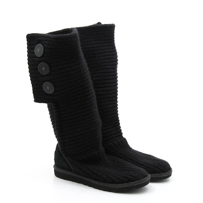 UGG Australia Classic Cardy Knit and Suede Boots in Black