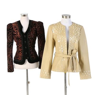 Scott McClintock Sportswear Velveteen and Spiegel Leather Embellished Jackets