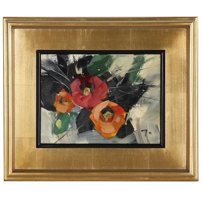 "Jose Trujillo Oil Painting ""Bright Roses"", 2019"