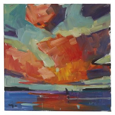 """Jose Trujillo Oil Painting """"Vibrant Sunset"""", 2019"""