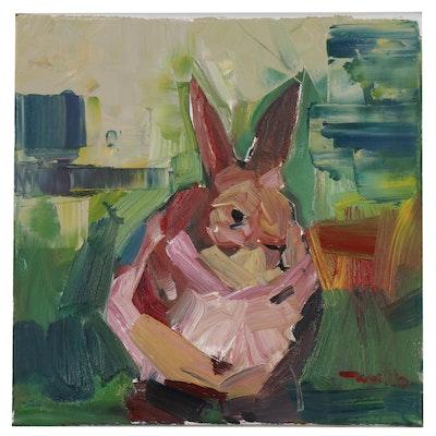 "Jose Trujillo Oil Painting ""Little Bunny"", 2019"