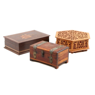 Floral Marquetry Mahogany Document Box with Miniatur Pine Chest and Fretwork Box