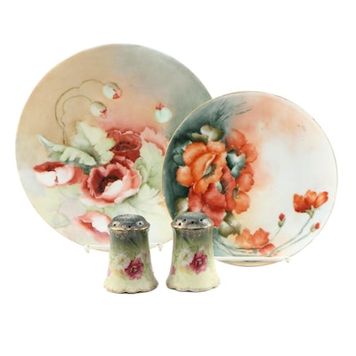 Tressemann & Vogt and Other Hand-Painted  Porcelain Plates and Shakers