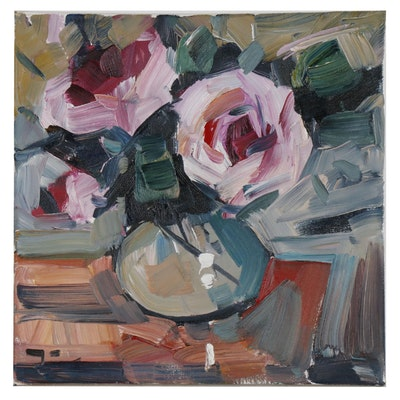 "Jose Trujillo Oil Painting ""Blushing Blossoms"", 2019"