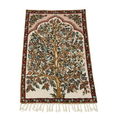 Indian Kashmiri Crewel Embroidery Tree Of Life Mihrab Wall Hanging