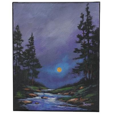 "Douglas ""Bumo"" Johnpeer Oil Painting ""Night Creek"""